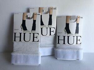 Lot of 3 Hue Women's Sporty Fishnet Ankle Socks U19126 White