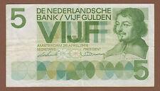 Geldschein 5 Gulden Niederlande 1966