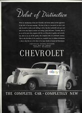 CHEVROLET 1937 DEBUT OF DISTINCTION COMPLETE CAR COMPLETELY NEW B/W AD