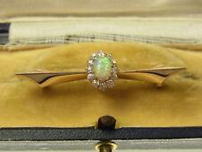 Antike Jugendstil Diamant Opal Brosche 585 Rotgold 12 Diamanten ca 0,25 Ct 1930