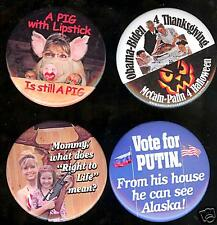 old ANTI Sarah PALIN pin PIG with LIPSTICK 1 ( ONLY ONE ) pmnback