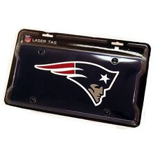 New England Patriots Navy Blue Mirrored Laser Cut License Plate Laser Tag