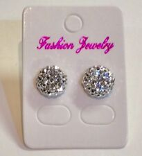 Small Sparkly Silver Crystal Diamante Stud Earrings