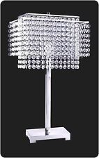 "Living Room Table Lamp 27.5"" H 732 Faux Crystal Strings Nickel Chrome Base NEW"