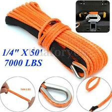 1/4'' X 50' Orange Winch line 7000lbs Synthetic Winch Rope Cable With Thimble