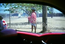 1963 View from Moving Car Woman Selling Leis Hawaii Kodachrome Slide