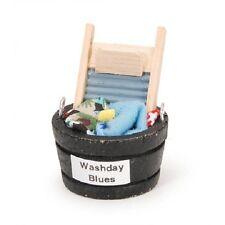 Miniatures wash day blues set bathroom decor. 2 inch Fairy Garden Dollhouse