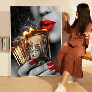 Red Lips Smile Smoking Beauty Woman Canvas Wall Art Burning Dollar Money Poster