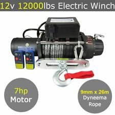 12V 12000lbs Electric Winch 9mm x 26m Dyneema Rope 4WD 4x4 13000lbs 13500lbs