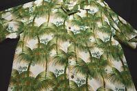 Joe Marlin Green White Palm Tree Short Sleeve Large Cotton rayon Men's Shirt