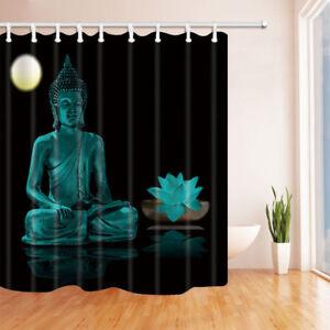 Buddha statue and lotus Bathroom Shower Curtain Waterproof Fabric & 12 Hooks
