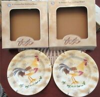 2 American Atelier At Home Rooster Salad Dessert 8.25'' Plate New Box Style C