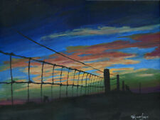 10x8 print Sunset over field fence painting acrylics art Andy Currie-Scarr