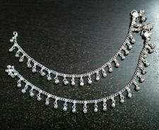 "1 Pair Silvertone Anklets Payal Gift Indian Wedding Womens Jewelry 10"" inch long"