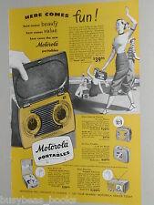 1949 MOTOROLA advertisement, Motorola SA9 portable Radio, TV, record player