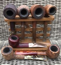 More details for selection of 7 old pipes ~ plus oak pipe rack ~ l@@k!!!!!