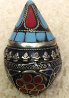 Middle Eastern Kuchi Turquoise Coral Silver Ring Size 12