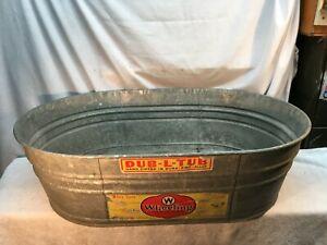 WHEELING Galvanized Metal Double  Oval Washtub Tub Farm Primitive Country