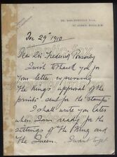 1910 UNIQUE! Mackennals Letter, GV's Approval of his design for Postage Stamps