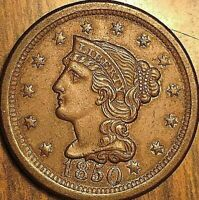 1850 US LARGE CENT BRAIDED HAIR UNITED STATES PENNY COIN - Fantastic example!