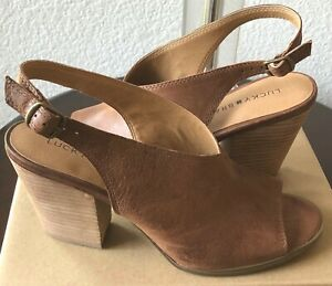 New LUCKY BRAND Ovrandie Shoes, Sandals, Sling back Open toes,Toffee-Brown SZ 9M
