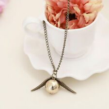 1 Pcs Golden Coppery Snitch Necklace, Harry Potter jewelry,  Angel Wings Pendant