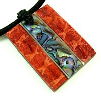 Natural Abalone Shell and Red Coral Pendant Cord Necklace Handmade Jewelry EA238