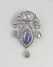 Opal Labradorit Anhänger Brosche Jugendstil 925er Silber 9927402