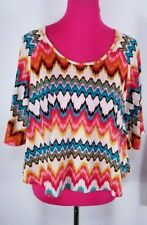 Ivy Jane Knit Top Size M Multicolor Southwestern Short Sleeve Bell Sleeves
