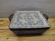 New listing Temptations By Tara Floral Lace Cobalt Blue 2.0 Quart Square With Lid Kfi-735076