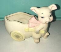 Vtg 1950's LEFTON Anthropomorphic Japan Pig Or Rabbit Flower CART Planter Vase