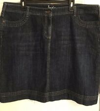 Boden Women's Blue Denim Jean Skirt Size 18 Plus Modest No Slit Knee Length