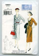 SEWING PATTERN VOGUE V8851 MISSES' DRESS & BELT SZ 6-14 ORIGINAL 1952 DESIGN