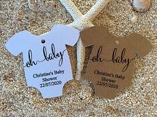 10 Brown Gift Tags Bomboniere Baby Shower Favour Personalised Oh Baby