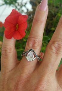 Pear Cut White Topaz W/Black Spinel Infinity Design Ring, 925, Sz 7