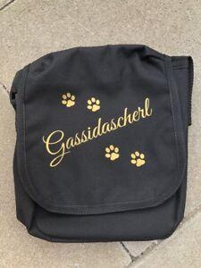 Gassitasche in Schwarz/Gold,Umhängetasche,alles dabei,Outdoor,Bag,Hund,Dog