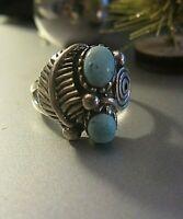 indianer ring silber 925 mit türkis und feder ornament  17 mm