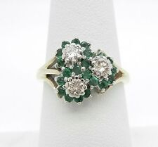 Gorgeous 14K Yellow Gold Genuine Emerald And 1/3CTW Diamond Ring~Stunning!