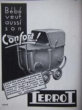 PUBLICITÉ DE PRESSE 1935 TERROT CONFORT BÉBÉ POUSSETTTE LANDAU - ADVERTISING