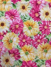 MAGENTA PINK & YELLOW FLOWERS SPRING FLORAL BY JO-ANN COTTON FABRIC HALF YARD