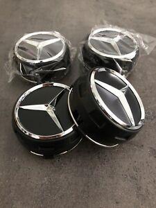 4x Mercedes-Benz AMG Nabendeckel Nabenkappen Felgendeckel 75mm Schwarz/Chrom NEU