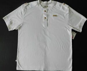 CAVI 2 button crew collar & cuffs white short sleeve 100% Cotton L-XL (T-M03)