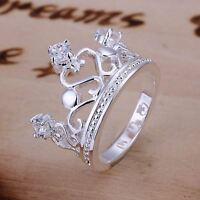 *UK* 925 SILVER PLT CROWN WITH CRYSTAL STATEMENT RING PRINCESS QUEEN ROYAL THUMB