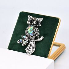 Night Owl Brooch Pin with Natural Sea Abalone Shell