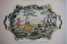 PLATEAU Polychrome Personnages FAIENCE ROUEN Gravure POTTIER Style Rocaille 1869