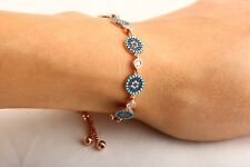 Protect! Turkish Jewelry Nazar 6 Evil Eye 925 Sterling Silver Tennis Bracelet
