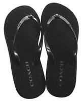 COACH Black Abigail Turnlock Signature Logo  Flip Flops Sandals NEW Women's 8