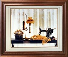 Country Sewing & Old Lamp Still Life Fine Wall Art Decor Mahogany Framed Picture