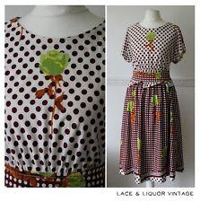 PRETTY vtg 1970s DOES 1950s BROWN WHITE POLKA DOT GREEN ROSE FLORAL DAY DRESS 8