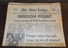 The Star-Ledger 21 January 1981 Iranian Hostages Released, Reagan Inaugurated